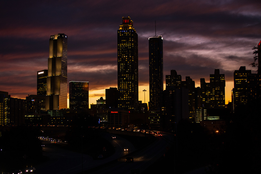 Atlanta skyline at sunset, as seen from the Jackson Street Bridge. Photo by Kevin D. Liles/kevindliles.com