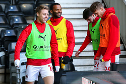 Rotherham United players enter the pitch at Pride Park Stadium, home to Derby County - Mandatory by-line: Ryan Crockett/JMP - 16/01/2021 - FOOTBALL - Pride Park Stadium - Derby, England - Derby County v Rotherham United - Sky Bet Championship