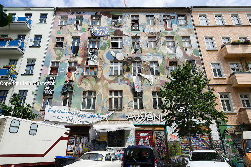 Tenement apartment building used as a squat in Friedrichshain district of Berlin Germany