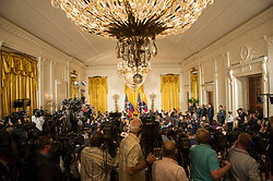 May 18, 2017 - Washington, United States of America - U.S. President Donald Trump and Colombian President Juan Manuel Santos a joint press conference in the East Room of the White House May 18, 2017 in Washington, D.C. (Credit Image: © Andrea Hanks/Planet Pix via ZUMA Wire)