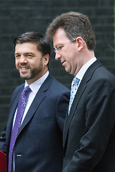 Downing Street, London June 2nd 2015. Stephen Crabb, Secretary of State for Wales (L) and Jeremy Wright QC, Attorney General arrive at 10 Downing Street to attend the weekly Cabinet Meeting.
