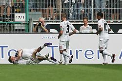 10.09.2011,  BorussiaPark, Mönchengladbach, GER, 1.FBL, Borussia Mönchengladbach vs 1. FC Kaiserslautern, im Bild.Torjubel / Jubel  nach dem 1:0 durch Juan Arango (Mönchengladbach #18) (L), mit Marco Reuss (Mönchengladbach #11). Filip Daems (Mönchengladbach #3) und Igor de Camargo (Mönchengladbach #10)..// during the 1.FBL, Borussia Mönchengladbach vs 1. FC Kaiserslautern on 2011/09/09, BorussiaPark, Mönchengladbach, Germany. EXPA Pictures © 2011, PhotoCredit: EXPA/ nph/  Mueller *** Local Caption ***       ****** out of GER / CRO  / BEL ******