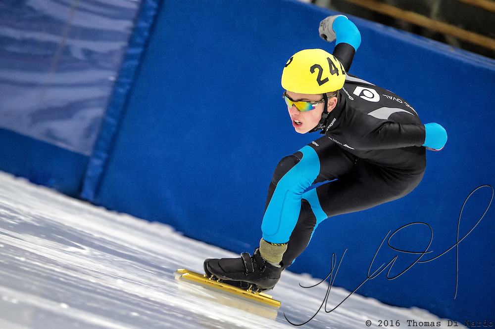 March 19, 2016 - Verona, WI - Chase Erickson, skater number 242 competes in US Speedskating Short Track Age Group Nationals and AmCup Final held at the Verona Ice Arena.