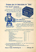 Ad for the Quad Camera or Cycle Lamp as subscription gifts Appeared in a monthly magazine called 'Birds : illustrated by color photography' a monthly serial. Knowledge of Bird-life in 1897.