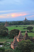 Myanmar Bagan Pagoda temples at sun set