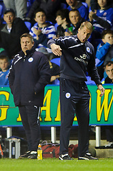 Coach Mike Stowell of Leicester City gestures - Photo mandatory by-line: Rogan Thomson/JMP - 07966 386802 - 14/04/2014 - SPORT - FOOTBALL - Madejski Stadium, Reading - Reading v Leicester City - Sky Bet Football League Championship.