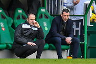 (LtoR) Hibernian FC assistant head coach, John Potter and Hibernian FC manager, Jack Ross look concerned as their team go 2-0 during the SPFL Premiership match between Hibernian FC and Motherwell FC at Easter Road, Edinburgh, Scotland on 27 February 2021.
