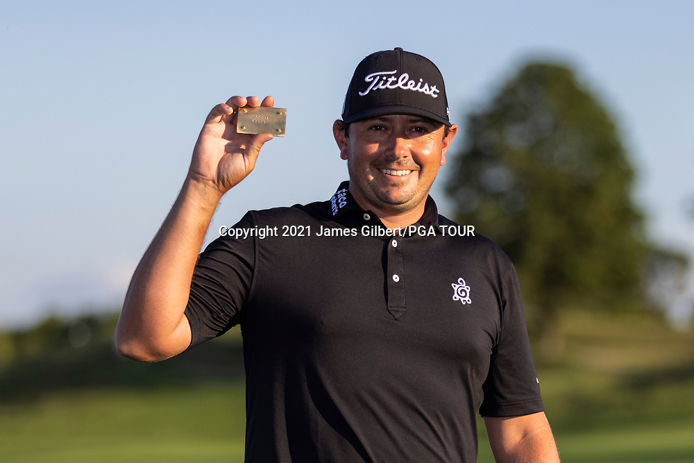 NEWBURGH, IN - SEPTEMBER 05: Joshua Creel poses with his PGA Tour card after the Korn Ferry Tour Championship presented by United Leasing and Financing at Victoria National Golf Club on September 5, 2021 in Newburgh, Indiana. (Photo by James Gilbert/PGA TOUR via Getty Images)