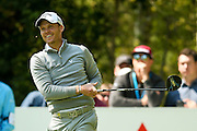 English golf professional Danny Willett  sees the funny side as he pushes his tee shot out to the right hand side at the BMW PGA Championship at the Wentworth Club, Virginia Water, United Kingdom on 27 May 2016. Photo by Simon Davies.