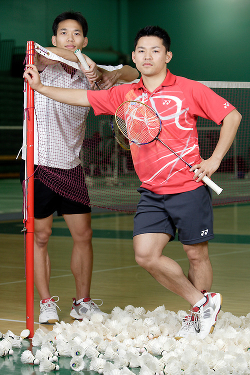 ORANGE, CA, January 3, 2008: Top badminton players, including Bob Malaythong, left, and Howard Bach, train at the Orange County Badminton Club in Orange, California and are sure bets to make Team USA.