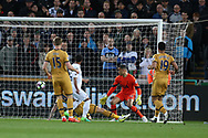 Wayne Routledge of Swansea city  scores his teams 1st goal as Tottenham players look dejected. Premier league match, Swansea city v Tottenham Hotspur  at the Liberty Stadium in Swansea, South Wales on Wednesday 5th April 2017.<br /> pic by Andrew Orchard, Andrew Orchard sports photography.