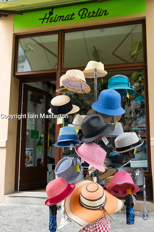Heimat hat shop in bohemian Prenzlauer Berg district of Berlin Germany