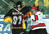 Ishockey: Mark MACKAY , Tyskland (tv)  og Jeff TORY , Canada<br />Tyskland - Canada  3:2.<br /><br />Foto: Uwe Speck, Digitalsport