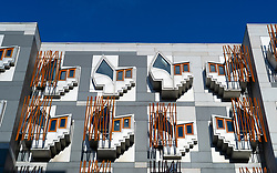 Exterior facade of Scottish Parliament building at Holyrood in Edinburgh, Scotland, UK