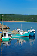 Fishing boats in Cabot STrait<br /> Neils Harbour<br /> Nova Scotia<br /> Canada