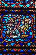 Stained glass crèche scene at Westminster Presbyterian Church. Minneapolis Minnesota USA