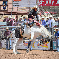 Bronc rider Kane Lee rode High Low for a score of 73 during the Gallup Inter-Tribal Ceremonial Rodeo at Red Rock Park Friday.
