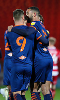 Blackpool's Jerry Yates celebrates scoring the opening goal with CJ Hamilton<br /> <br /> Photographer Alex Dodd/CameraSport<br /> <br /> The EFL Sky Bet League One - Doncaster Rovers v Blackpool - Tuesday 24th November 2020 - Keepmoat Stadium - Doncaster<br /> <br /> World Copyright © 2020 CameraSport. All rights reserved. 43 Linden Ave. Countesthorpe. Leicester. England. LE8 5PG - Tel: +44 (0) 116 277 4147 - admin@camerasport.com - www.camerasport.com