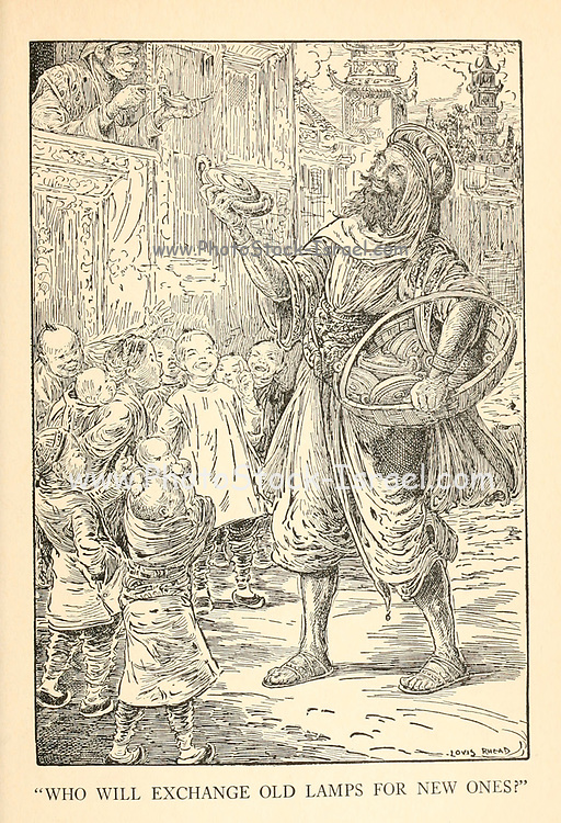 Who Will Exchange Old Lamps For New Ones from the book ' The Arabian nights' entertainments ' Test and Illustrations by Louis Rhead, Published  in New York by Harper & Brothers in 1916. In order to save her life, Sheherazade entertains the sultan by telling him wondrous stories