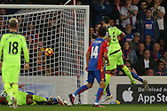 Dejan Lovren of Liverpool (r) scores his sides 2nd goal to make it 1-2. Premier League match, Crystal Palace v Liverpool at Selhurst Park in London on Saturday 29th October 2016.<br /> pic by John Patrick Fletcher, Andrew Orchard sports photography.