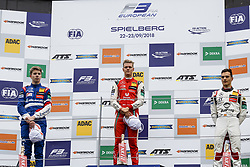 September 22, 2018 - Spielberg, Austria - ROBERT SHWARTZMAN of Russia and Prema Theodore Racing, MICK SCHUMACHER of Germany and Prema Theodore Racing and ALEX PALOU of Spain and Hitech Grand Prix are seen on the podium after the 2018 FIA Formula 3 European Championship race 1 at the Red Bull Ring in Spielberg, Austria. (Credit Image: © James Gasperotti/ZUMA Wire)