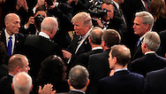 President Donald Trump talks to Suipreme Court Justice Anthony Kennedy  as he arrives in the House of Representatives Chamber to give  a speech to a joint session of Congress on February 28, 2017<br /> <br /> Photo by Dennis Brack