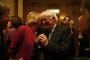 IRENE BRENDEL AND SEAMUS HEANEY. Seamus Heaney reading and party. Irish Embassy. Grosvenor Place. 21 April 2006. ONE TIME USE ONLY - DO NOT ARCHIVE  © Copyright Photograph by Dafydd Jones 66 Stockwell Park Rd. London SW9 0DA Tel 020 7733 0108 www.dafjones.com