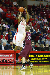 12 February 2011: Trey Blue works the perimeter to get loose of Nathan Scheer during an NCAA Missouri Valley Conference basketball game between the Missouri State Bears and the Illinois State Redbirds at Redbird Arena in Normal Illinois.