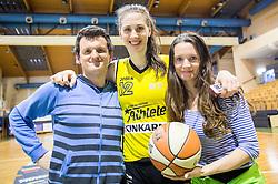 Eva Lisec of Athlete Celje celebrates after winning during basketball match between ZKK Athlete Celje and ZKK Triglav in Finals of 1. SKL for Women 2014/15, on April 20, 2015 in Gimnazija Celje Center, Celje, Slovenia. ZKK Athlete Celje became Slovenian National Champion 2015. Photo by Vid Ponikvar / Sportida