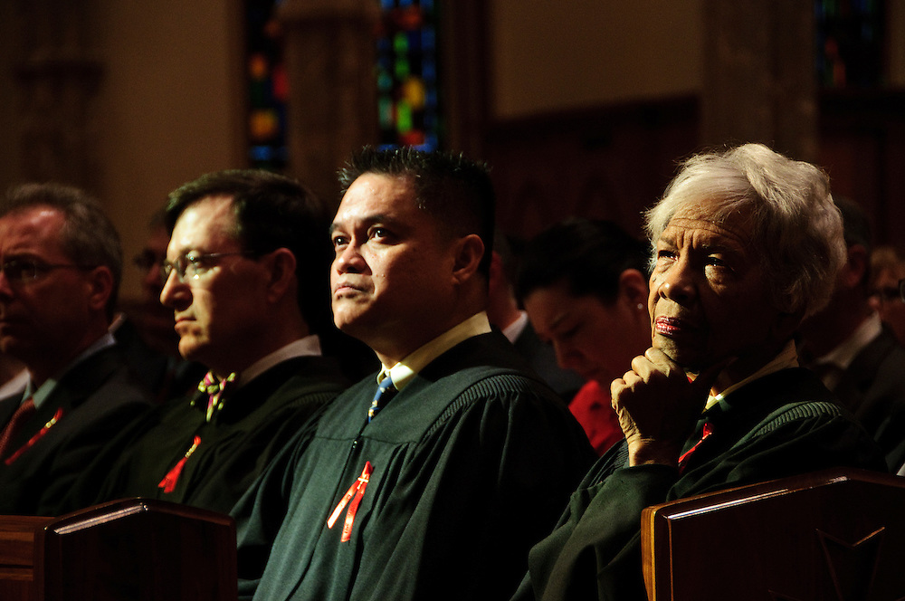 """Illinois judges, law school professors and members of the Catholic Lawyers Guild are in attendance during the 78th Annual Votive Mass of the Holy Spirit, or """"Red Mass"""" celebrated at Holy Name Cathedral in Chicago. September 30, 2012 l Brian J. Morowczynski~ViaPhotos..For use in a single edition of Catholic New World Publications, Archdiocese of Chicago. Further use and/or distribution may be negotiated separately. Contact ViaPhotos at 708-602-0449 or email brian@viaphotos.com."""