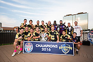 Lindenwood University celebrates their win over Arizona State University  for the Cup trophy at Red Bull Uni 7s Rugby Qualifiers at Infinity Park in Glendale, CO, USA, on 25 August, 2016.