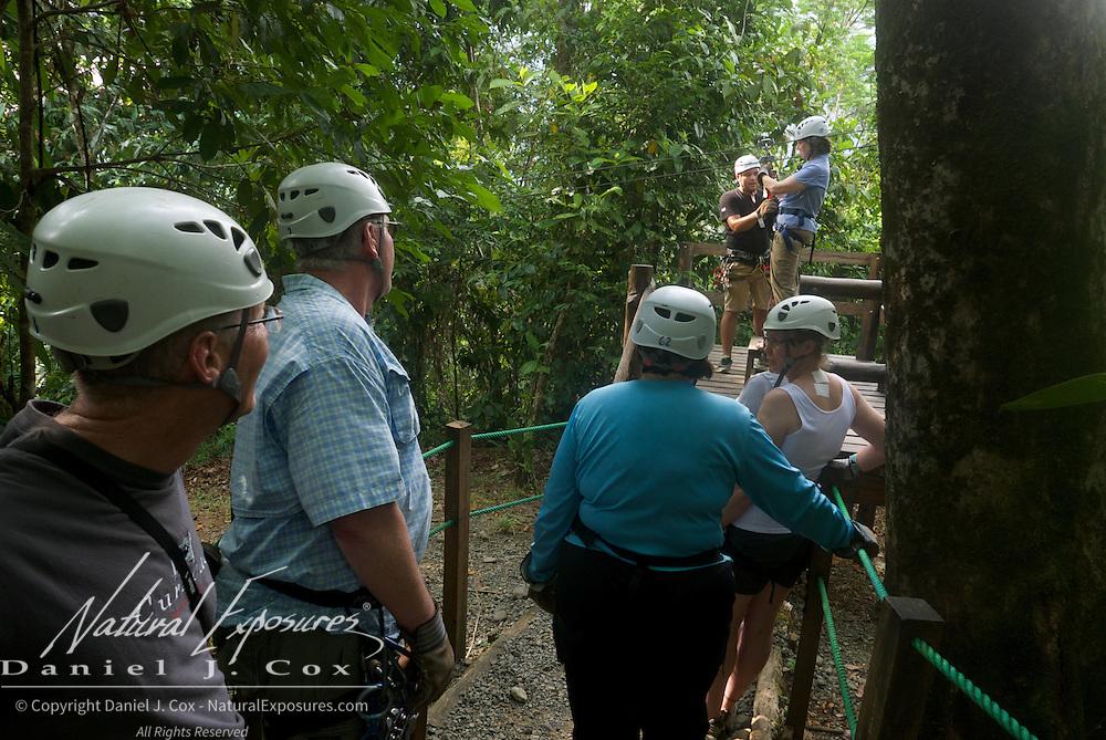Waiting turns. Zip Lining. Costa Rica.