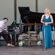 Mezzo-soprano Jamie Van Eyck and pianist Colin Fowler perform works by Henry Cowell and Charles Ives at Libbey Bowl on June 9, 2013 in Ojai, California.