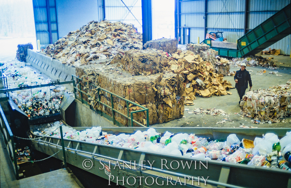wide view: Recycling Plant- Trash Plastic Paper and Metal sorting