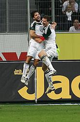 30.10.2010, Volkswagen Arena, Wolfsburg, GER, FBL, VfL Wolfsburg vs VfB Stuttgart, im Bild Torjubel von Diego (Wolfsburg #28) und Torschuetze Edin Dzeko (Wolfsburg #9) EXPA Pictures © 2010, PhotoCredit: EXPA/ nph/  Schrader+++++ ATTENTION - OUT OF GER +++++