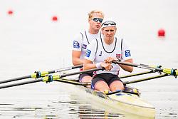 August 3, 2018 - Glasgow, UNITED KINGDOM - 180803 Jan Oscar Helvig (stroke) and Erik Solbakken (bow) of Norway compete in the Men's Rowing Double Sculls repechage during the European Championships on August 3, 2018 in Glasgow..Photo: Jon Olav Nesvold / BILDBYRÃ…N / kod JE / 160281 (Credit Image: © Jon Olav Nesvold/Bildbyran via ZUMA Press)