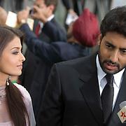 SHEFFIELD, UNITED KINGDOM - 9th June 2007: Newlywed Bollywood actors Ayshwarya Rai and Abhishek Bachchan at   International Indian Film Academy Awards (IIFAs) at the Sheffield Hallam Arena on June 9, 2007 in Sheffield, England.
