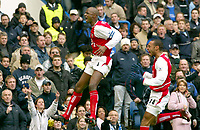 Patrick Vieira (Arsenal) celebrates his goal (Arsenal's 1st)<br />  with Thierry Henry (right).<br /> Chelsea v Arsenal 21/02/04. Credit : Colorsport.