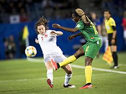 6?10??????????????Allysha Chapman () of Canada??????????????????Claudine Meffometou () of Cameroon???..???????????????2019?6?11?.    ?????????——E??????????????.    ?????????????2019??????????E???????????1?0??????.    ?????????..(SP)FRANCE-RENNES-2019 FIFA WOMEN'S WORLD CUP-GROUP E-CANADA VS CAMEROON..(190611) -- MONTPELLIER, June 11, 2019  the group E match between Canada and Cameroon at the 2019 FIFA Women's World Cup in Montpellier, France on June 10, 2019. Canada won 1-0. (Credit Image: © Xinhua via ZUMA Wire)