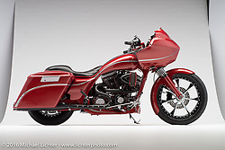 """Epic"", a rubino red bagger built from a 2005 Harley-Davidson Road Glide by Robert ""Pipes"" Gilliland of Jackson, OH. Photographed by Michael Lichter during the Easyriders Bike Show in Columbus, OH on February 20, 2016. ©2016 Michael Lichter."