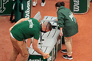 Assistant cleaned the seats of players from water and Covid19 during the Roland Garros 2020, Grand Slam tennis tournament, on October 5, 2020 at Roland Garros stadium in Paris, France - Photo Stephane Allaman / ProSportsImages / DPPI