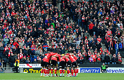 Bristol City huddle infant of 5000 away supporters  - Photo mandatory by-line: Joe Meredith/JMP - Mobile: 07966 386802 - 07/02/2015 - SPORT - Football - Milton Keynes - Stadium MK - MK Dons v Bristol City - Sky Bet League One