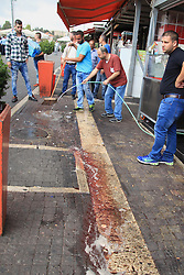 10.10.2015, Jerusalem, ISR, Gewalt zwischen Palästinensern und Israelis, im Bild Zusammenstösse zwischen Palästinensischen Demonstranten und Israelischen Sicherheitskräfte // Palestinians clean the scene of a stabbing attack outside Jerusalem's Old City October 10, 2015. Israeli forces shot dead two Palestinian assailants in East Jerusalem on Saturday, one of whom had stabbed two Israelis, police said, in a wave of violence that has raised concerns about a new Palestinian uprising. Police said two ultra-Orthodox Jewish men were wounded in the attack near Jerusalem's walled Old City. Earlier, paramilitary police shot dead a militant who had opened fire at them during late-night clashes at the Palestinian refugee camp Shuafat, police said, Israel on 2015/10/10. EXPA Pictures © 2015, PhotoCredit: EXPA/ APAimages/ Mahfouz Abu Turk<br /> <br /> *****ATTENTION - for AUT, GER, SUI, ITA, POL, CRO, SRB only*****