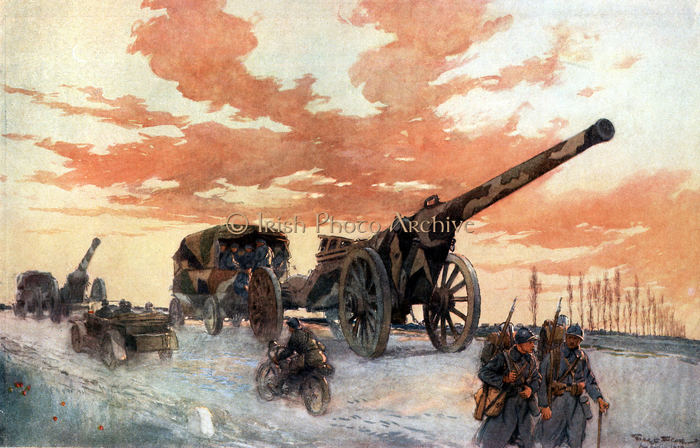 Convoi d'Artillerie Automobile' ('Convoy of Motorised Artillery').   After watercolour by French war artist Georges Scott (1880-1947). 1918.  CLEAR COPYRIGHT.