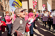 09 JANUARY 2012 - PHOENIX, AZ:  Pro-Choice and pro-life advocates squared off at the state legislature Monday. Gov Brewer delivered her State of the State inside while outside representatives of interest groups picketed and protested.  There were more than 300 pro-choice demonstrators at the capitol and only about 50 pro-life demonstrators.     The Arizona legislature started its 2012 session and Gov. Jan Brewer delivered her State of the State Monday, Jan 9.                   PHOTO BY JACK KURTZ