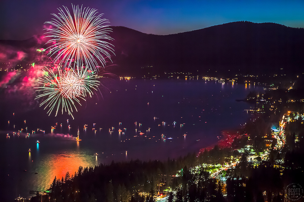 """""""Kings Beach Fireworks 1"""" - Photograph of the 4th of July fireworks show above Kings Beach, Lake Tahoe."""