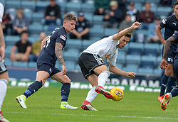 Dundee's Josh Meekings and Ayr United's Laurence Shankland. half time : Dundee 0 v 0 Ayr United, Scottish League Cup Second Round, played 18/8/2018 at the Kilmac Stadium at Dens Park, Scotland.