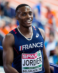 Thomas Jordier of France after he competed in the Men's 400 metres heats on day one of the 2017 European Athletics Indoor Championships at the Kombank Arena on March 3, 2017 in Belgrade, Serbia. Photo by Vid Ponikvar / Sportida