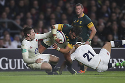 November 12, 2016 - London, England, United Kingdom - Francois Venter of South Africa charges through the tackles from Elliot Daly and Danny Care during Old Mutual Wealth Series between England  and South Africa played at Twickenham Stadium, London, November 12th  2016  (Credit Image: © Kieran Galvin/NurPhoto via ZUMA Press)