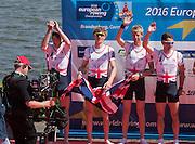 Brandenburg. GERMANY. GBR LM4-. Bow.Chris BARTLEY, Mark ALDRED, Jonno CLEGG and Peter CHAMBERS. silver medalist, men's lightweight four.<br /> 2016 European Rowing Championships at the Regattastrecke Beetzsee<br /> <br /> Sunday  08/05/2016<br /> <br /> [Mandatory Credit; Peter SPURRIER/Intersport-images]